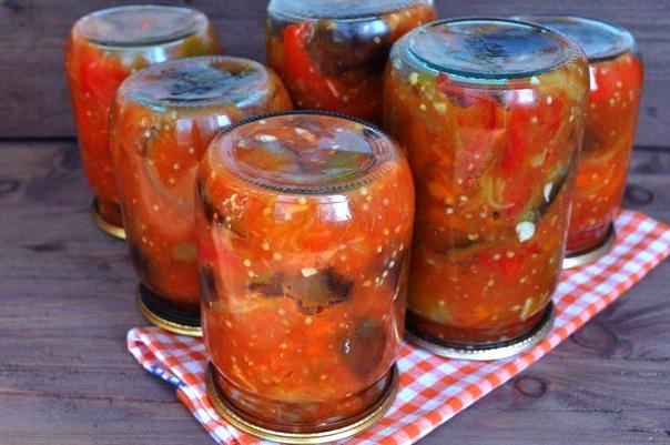 Салат из баклажанов и фасолью на зиму рецепт с