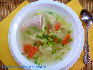 Суп куриный с клёцками фото