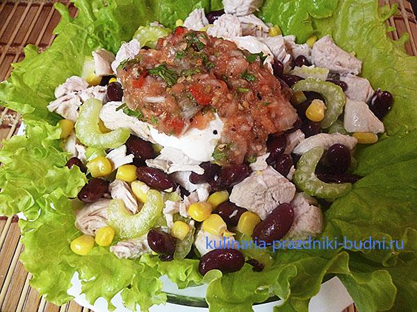 салат с фасолью и курицей фото