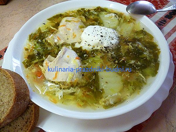 Суп со щавелем и яйцом фото