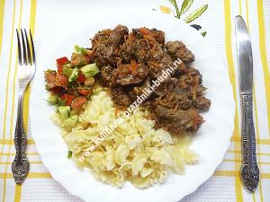 Куриная печень с овощами рецепт