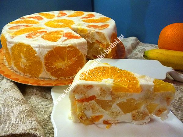 Торт желейный со сметаной