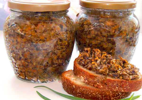 грибная икра с капустой на зиму рецепт