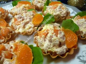 Тарталетки с салатом мандариновый рай