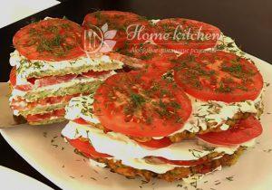 Торт из кабачков с помидорами фото